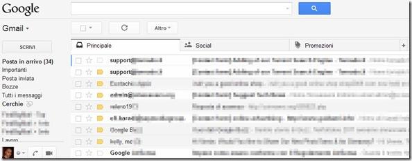 Gmail interfaccia a schede Posta in arrivo