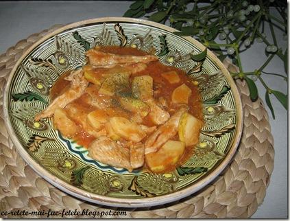 Pui cu gutui în sos de roşii - servim cu paine sau cu orez
