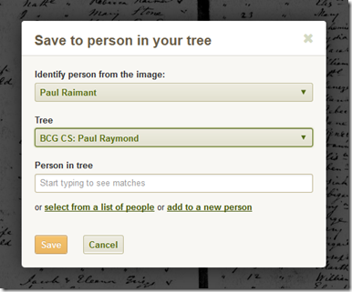 Ancestry.com Save to Person in Your Tree feature