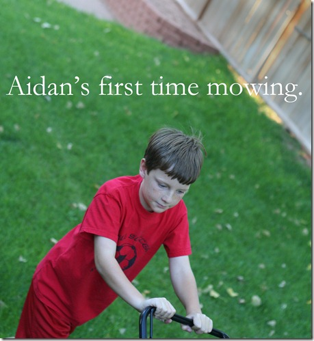 aidan's first time mowing web