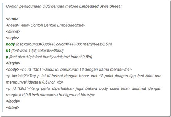 Penggunaan CSS Embedded Style Sheet