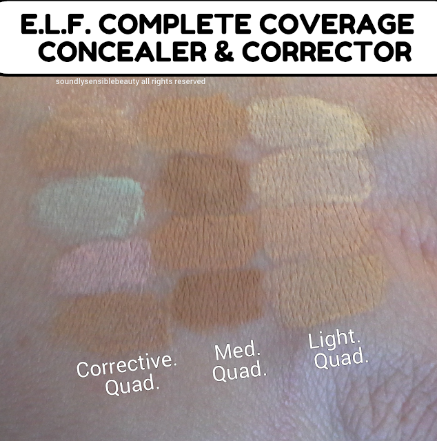 e.l.f. Complete Coverage Concealer & Corrective Concealer; Review & Swatches of Shades Light, Medium, Corrective