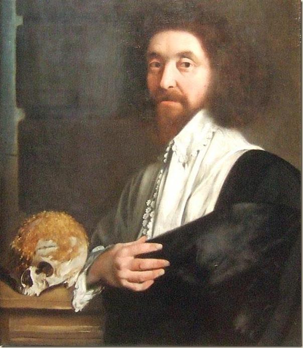 Portrait de John Tradescent avec un crâne