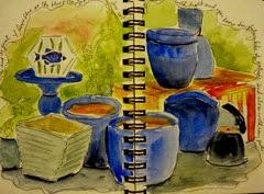 blue pots garden house