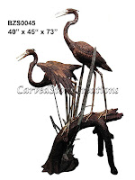Crane Pair Standing On Log