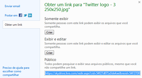 Copiar link de compartilhamento do SkyDrive