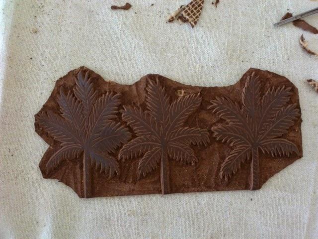 Palmtrees linogravure HeleneB7