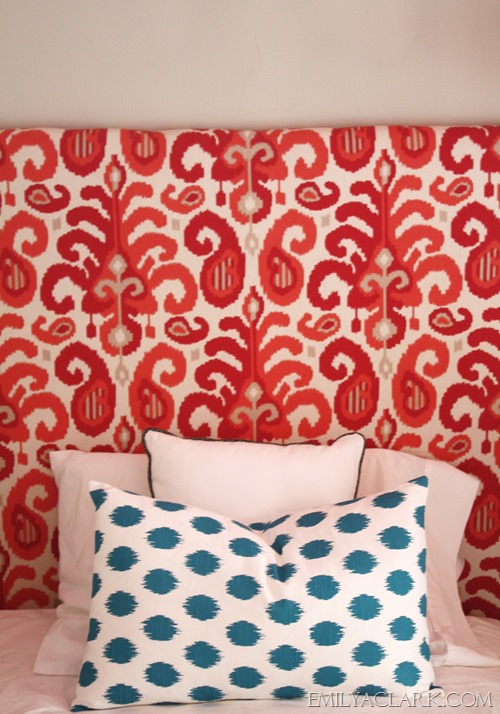 ikat headboard and pillow