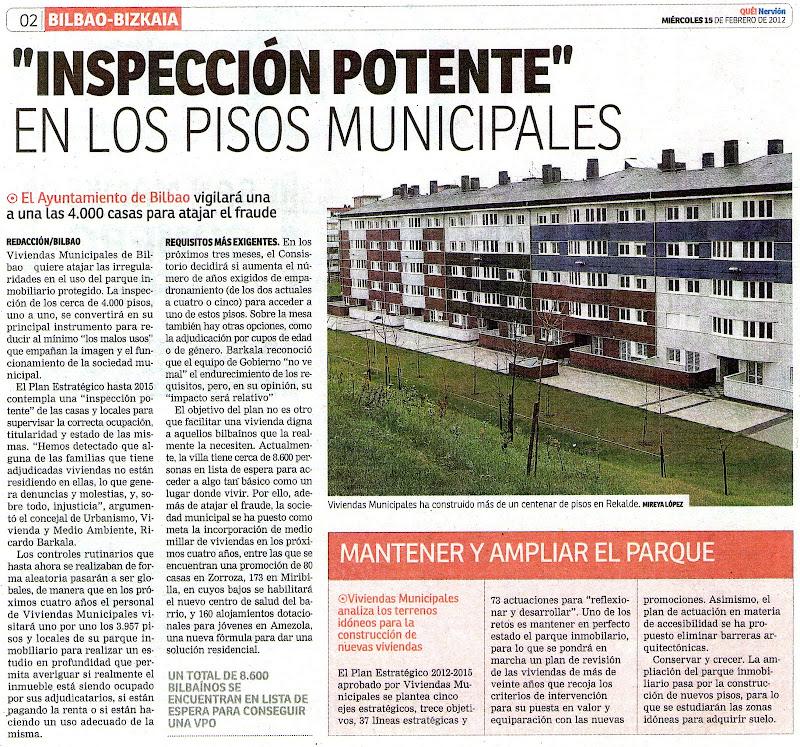 Inspecci n en los pisos de viviendas municipales for Pisos en otxarkoaga