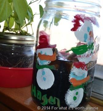 bulb planting in mason jar