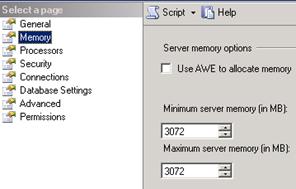 SQL Server Management Studio - Minimum memory