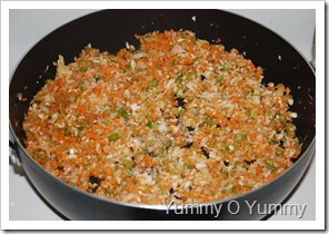 Finely chopped veggies