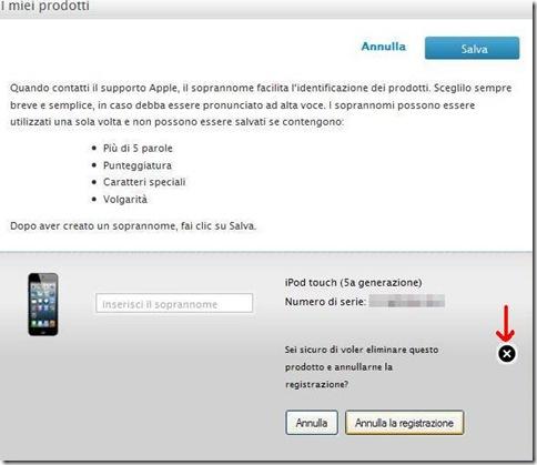 Annullare registrazione iPhone, iPad, iPod Profilo del supporto