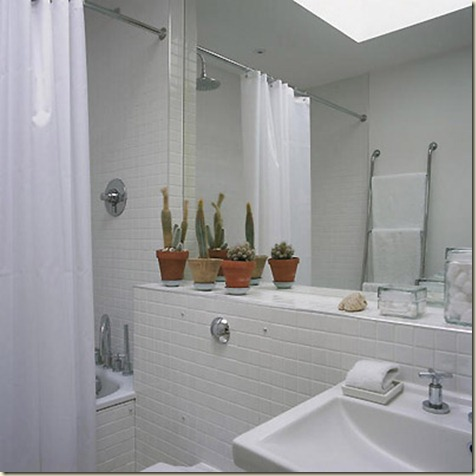 Modern  home: white tiled bathroom. Sim Used L etc 01/2004 p96