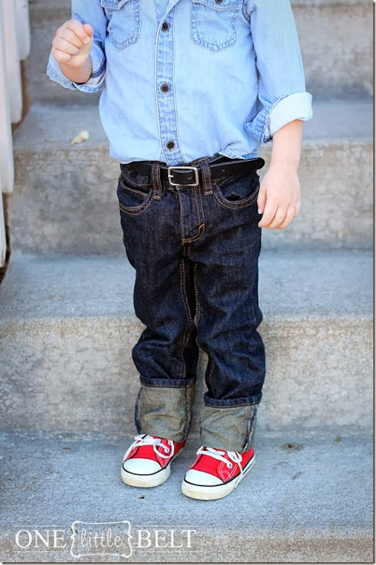 Black belt on a toddler with denim on denim.