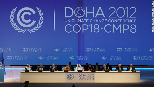 Delegates at the opening of the latest round of U.N. climate talks in Doha, Qatar, 26 November 2012. The talks are being hosted in the Middle East for the first time. Karim Jaafar / AFP / Getty Images