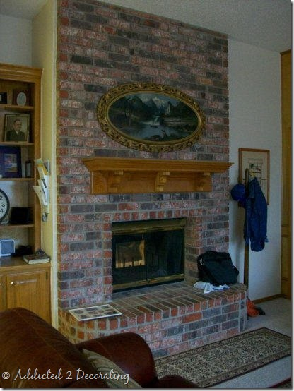 John & Alice's original brick fireplace.