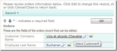 Customer Company Name lookup on the Orders edit form.