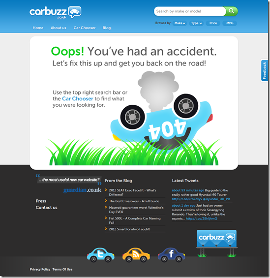 404 Error Page Design - carbuzz