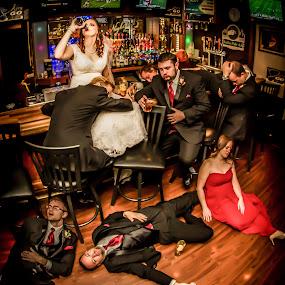 Last One Standing by Eric Bott - Wedding Groups ( groomsmen, drinking, wedding, contest, fun, group, bride, bar, groom, wedding party,  )
