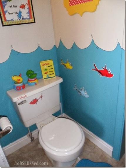 Seuss One Fish Bathroom toilet obSEUSSed