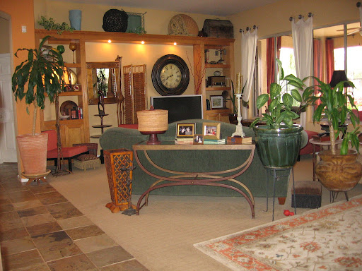 All Lynda's beautiful garage sale finds come together in her living room.