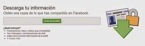 Descargar una copia de tu info de Facebook