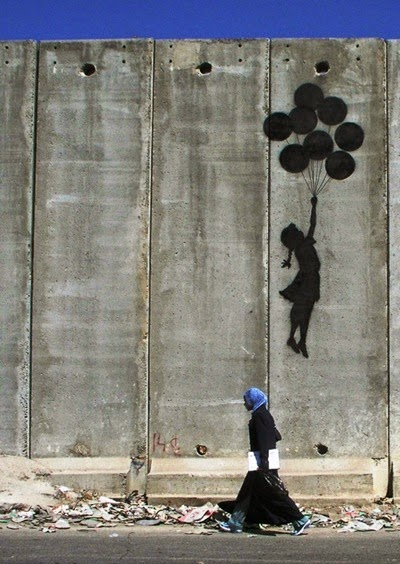 Banksy westbank wall balloon girl1