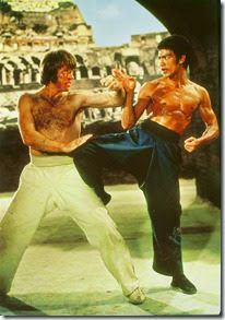 Chuck Norris the young Texas Ranger getting his butt whooped by Bruce Lee in The Way of the Dragon