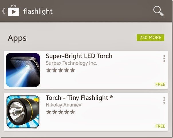 Flashlight apps at Google Play Store