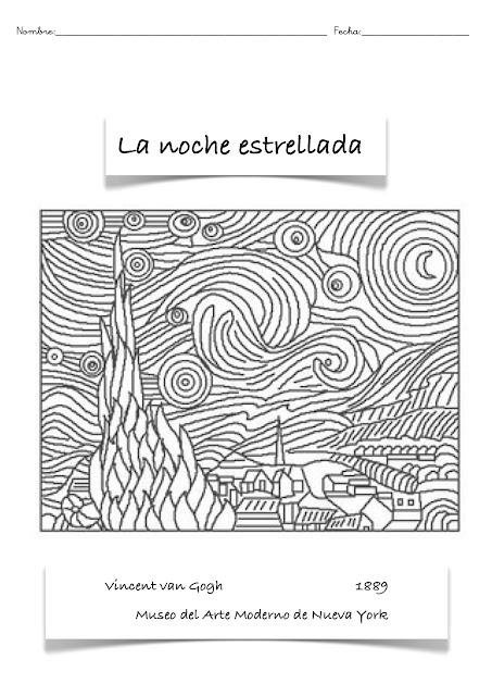 Dibujos para imprimir y colorear: COLOREAR NOCHE ESTRELLADA