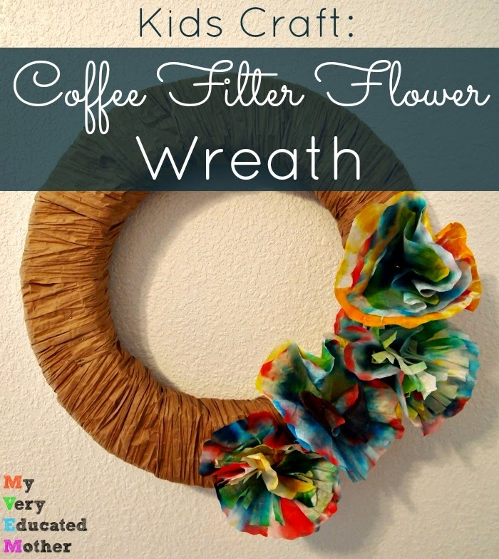 Coffee Filter Flower Wreath via @mvemother