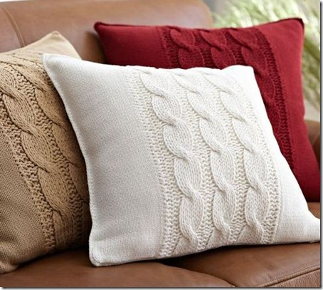 sweater pillows Pottery Barn