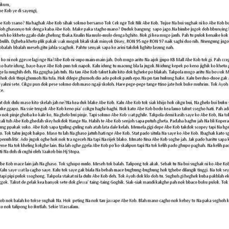 Jika anda faham loghat Kelate , maka patut baca surat ini !