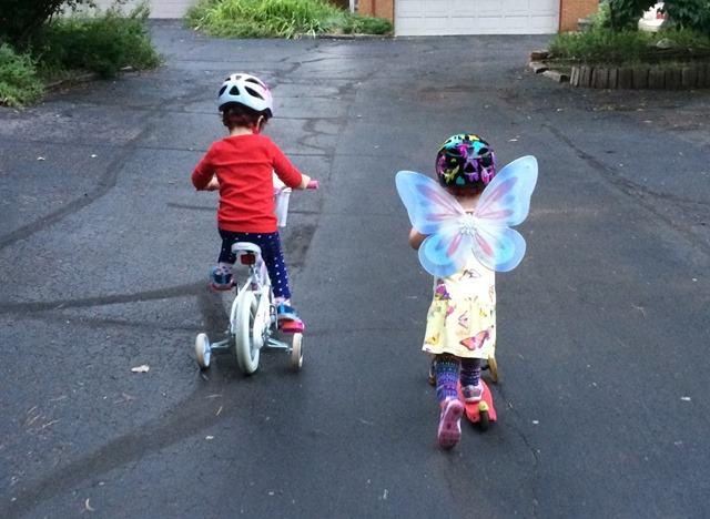 kids on scooter and bike