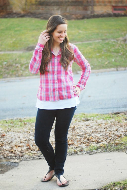 pink plaid, jeans