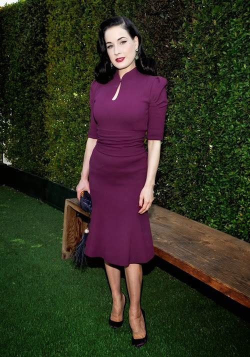 LOS ANGELES, CA - JANUARY 09:  Dita Von Teese attends LOVEGOLD Luncheon celebrating Michelle Dockery at Chateau Marmont on January 9, 2014 in Los Angeles, California.  (Photo by John Sciulli/Getty Images for LOVEGOLD)