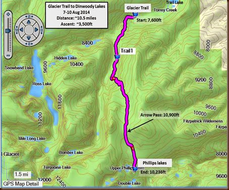 Dinwoody Lakes trail map