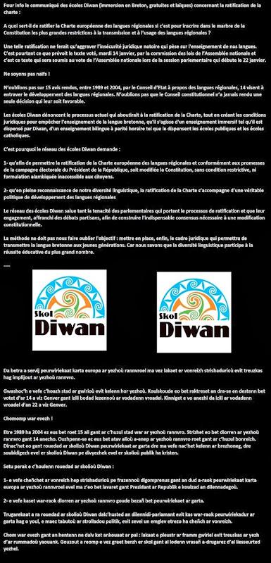 comunicat Diwan debat sobre las lengas regionalas