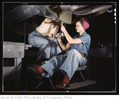 'Women at work on bomber, Douglas Aircraft Company, Long Beach, Cali