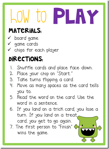 Freebielicious: Trick or Treat Sight Word Game