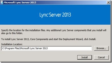 Lync 2013 - DB Location - 123 setup location default