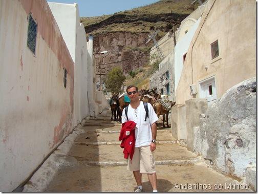 Escadaria de Santorini e Mula