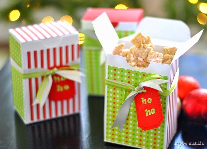 White Chocolate Peppermint Chex Mix and DIY favor boxes. Perfect party favor or neighbor gift for the holidays!