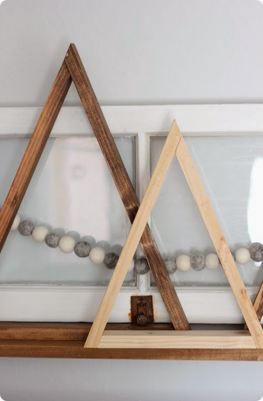 STAINED AND NATURAL WOODEN TRIANGLE TREES