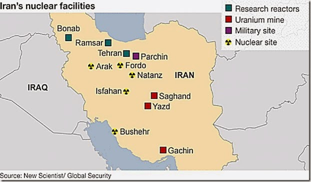 Iran Nuke Sites Map