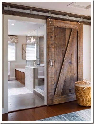 barn door to bathroom