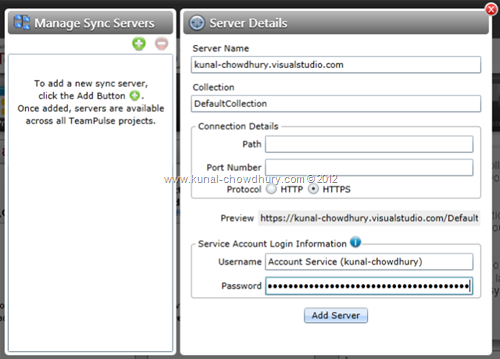 Connect to the Sync Server