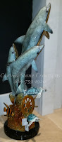 Bronze Statuary, Table-Top Size Dolphin Trio & Turtle Sculpture