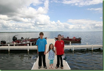 Cara and Boys on Battle Lake